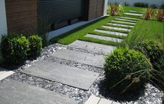 Example of using the rectangular stones set in a straight path (one of the ideas we discussed for in front of garage wall planter).