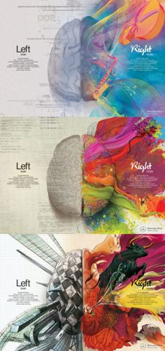 Brain - Right Brain Left Brain - Right Brain. Now I know why every test I've taken indicates I'm right brain.Left Brain - Right Brain. Now I know why every test I've taken indicates I'm right brain. Graphisches Design, Graphic Design, Game Design, Creative Design, Creative Ideas, Design Ideas, Left Brain Right Brain, Wow Art, Art Plastique