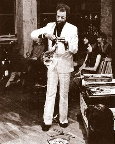 Ornette Coleman recording in his loft at 131 Prince Street in Manhattan, a session that was released on Flying Dutchman (Friends and Neighbors) in 1970. Photo by Bob Thiele