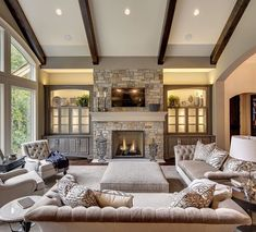 Transitional Living Room via Susan Hoffman Interior Designs: Lighter fabrics, tone-on-tone, a cross between Traditional and Contemporary.