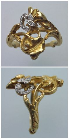 ART NOUVEAU - Floral Ring. Gold, Diamond. Marks: Eagle's head & indistinct maker's mark. French, c.1900.