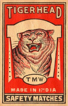 Tiger head matchbox label