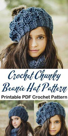 Make a cozy chunky beanie - winter crochet hat pattern Chunky Crochet Hat, Crochet Beanie Pattern, Knitted Hats, Crochet Patterns, Knitting Patterns, Doll Patterns, Crochet Ideas, Crochet Projects, Bonnet Crochet