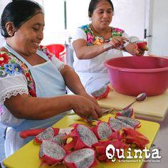 Mujeres mayas limpiando pitayas (Dragon Fruit)