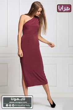 (34$)فستان عنابي بسحاب على الجنب