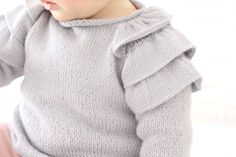 Ruffles Baby Sweater [ Knitting Pattern & Tutorial ] FREE Source by Sweaters Kids Knitting Patterns, Baby Sweater Knitting Pattern, Baby Sweater Patterns, Baby Clothes Patterns, Knitting For Kids, Baby Girl Sweaters, Toddler Sweater, Knitted Baby Clothes, Baby Pullover Muster