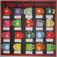 Cut the mugs out of colored card stock or cut out white mugs and let the students decorate them on the backdrop of black or silver bulletin board. - Winter Bulletin Board Ideas