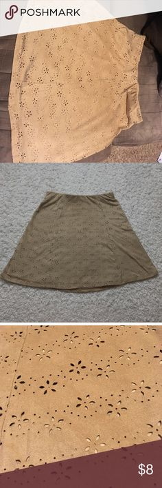 """Maurice's Faux Suede Eyelet Skirt Super fun Skirt! Perfect for fall with tights and boots! Elastic waist. 18"""" from waist to hem. Machine washable. Smoke free home. Maurices Skirts Mini"""