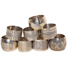 Art Deco Group of Eight Silver Napkin Rings | From a unique collection of antique and modern tableware at https://www.1stdibs.com/furniture/dining-entertaining/tableware/