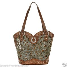American West Boot Scoot Boogie Lady Lace Tooled Leather Handbag Purse Tote