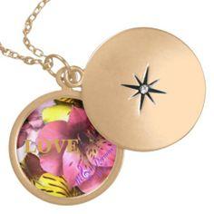 Love and Flowers Medium Round Gold Plated Locket #locket #round #necklace #flowers #love #goldplated #gold #jewelry #accessorize #moondreamsmusic #ValentinesDay #valentine #zazzle