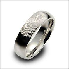 Men's wedding ring with wife's fingerprint