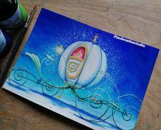 "Tas KreationStudio on Instagram: ""*SOLD* #inktober #inktober2019 Original Cinderella's Carriage Ink Painting 😁 This is for the word 'Enchanted' ✨ I honestly love how bright…"" Angel Wallpaper, Disney Paintings, Cinderella Carriage, Disney Animated Movies, Crafty Craft, Disney Animation, Ink Painting, Inktober, Enchanted"
