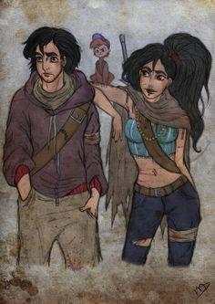 The Walking Disney : Aladin, Jasmine and Abu by Kasami-Sensei.deviantart.com on @deviantART
