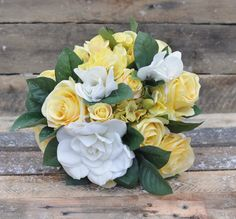 Silk Wedding Bouquet made with Yellow Roses by Hollysflowershoppe