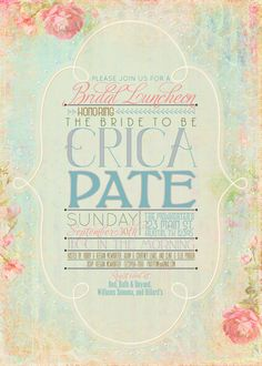 Vintage Inspired Bridal Shower/Baby by BlissfulBlueDesigns on Etsy, $60.00