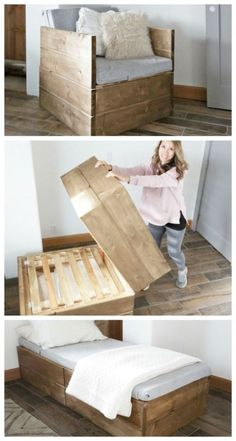 62 Inspiring DIY Pallet Wood Project That Can Help Your Home Improvement Easy Home Decor, Diy Home Crafts, Decor Crafts, Twin Sleeper Chair, Transforming Furniture, Modular Furniture, Diy Furniture, Rustic Room, Tiny House Design