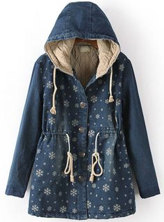 Blue Hooded Long Sleeve Snowflake Print Coat - Sheinside.com