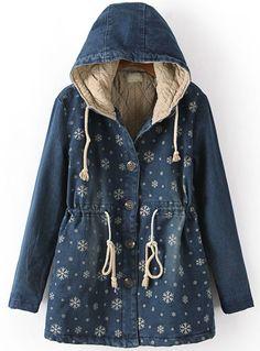 Blue Hooded Long Sleeve Snowflake Print Coat - Sheinside.com