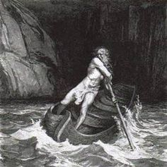 In Greek mythology, Charon or Kharon is the ferryman of Hades who carries souls of the newly deceased across the rivers Styx and Acheron that divided the world of the living from the world of the dead. A coin to pay Charon for passage, usually an obolus or danake, was sometimes placed in or on the mouth of a dead person. Some authors say that those who could not pay the fee, or those whose bodies were left unburied, had to wander the shores for one hundred years.