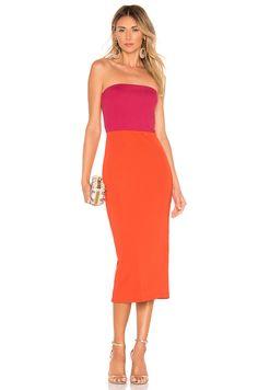 Shop for NBD Kyra Midi Dress in Fuchsia & Orange at REVOLVE. Orange Cocktail Dresses, Long Cocktail Dress, Orange Dress, Formal Evening Dresses, Strapless Dress Formal, Different Types Of Dresses, Lady, Flare Dress, Nice Dresses