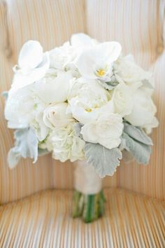 Beautiful Wedding Bouquet: White Peonies, White Roses, White Hydrangea, White Phalaenopsis Orchids, Broad Leaf Dusty Miller****