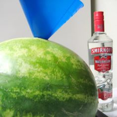 "Adult Watermelon for BBQ's ~~~ ""Adults only! This is watermelon and liquor...perfect for BBQ's, picnics, camping and by the pool! Use any liquor you like, even wine works! I use seedless watermelon, but you don't have to."""
