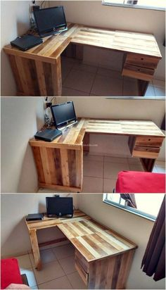 Lovely Pallet Diy Furniture Design in 2020 Small Kitchen Furniture, Unique Wood Furniture, Wooden Pallet Furniture, Log Furniture, Wooden Pallets, Cheap Furniture, Wooden Diy, Furniture Design, Pallet Wood