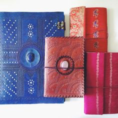 Handcrafted notebooks and photo albums made from leather and saris, from Shiva Handicrafts, Udaipur, Rajasthan