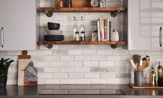 Chalk Dust TundraBrick | I-XL Building Products Cabinets To Ceiling, Upper Cabinets, Thin Brick Veneer, Kitchen Decor, Kitchen Design, Kitchen Ideas, Eldorado Stone, Manufactured Stone Veneer, Kitchen Cabinet Remodel