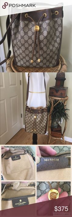 """AUTHENTIC VINTAGE GUCCI BUCKET BAG Gucci signature canvas and leather vintage bucket crossbody.  This bag is in great shape.  Clean interior. There is very minor flaking on the inside leather.  There is about a 2"""" section (shown in picture) on the strap were the stitching has come undone ( not noticeable when wearing). The canvas is in great condition. Minor surface scratches to the hard wear.Adjustable strap, drawstring closure, 1 interior pocket. Serial #164-02-034. TRADESLOWBALL Gucci…"""