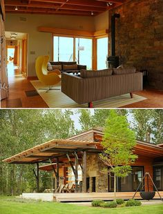 Prefabs have come along way from those half houses on a flat bed you pass on the freeway. This Montana prefab looks every bit like a custom home and comes with such green features as ground-source geothermal, solar PV and cork flooring. Awesome!