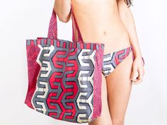 Beach Cotton Bag, African Print Bohemian Tote Bag, Carry All Gym Tote in Pop Geometric Pattern in Pink and Blue