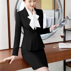 Fashion womens formal suits Office OL Uniform Designs long-sleeve blazer with skirt Suits Work Wear 2 piece Sets plus size 2019 Backless Shirt, Backless Mini Dress, Boho Summer Dresses, Boho Style Dresses, Plus Size Clothing Stores, Uniform Design, Formal Suits, Mode Outfits, Suits For Women