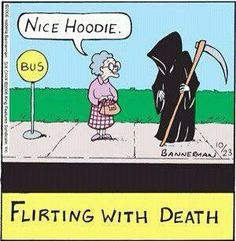 Flirting with death halloween humor, halloween cartoons, halloween scene, halloween art, halloween Funny Cartoons, Funny Comics, Funny Jokes, Memes Humor, Wie Man Flirtet, Halloween Jokes, Scary Halloween, Halloween Scene, Halloween Sayings