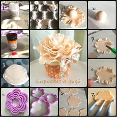 Large Peony - fondant or Sugar Paste Flowers, Icing Flowers, Fondant Flowers, Clay Flowers, Fondant Flower Tutorial, Cake Topper Tutorial, Cupcake Tutorial, Cake Decorating Techniques, Cake Decorating Tutorials