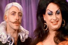 David Lochary (as Donald Dasher) and Divine (as Dawn Davenport) from John Waters' Female Trouble, 1974 #Divine #JohnWaters #FemaleTrouble #DawnDavenport #DavidLochary
