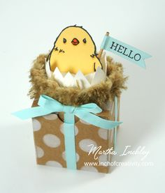 Martha's Tiny Treat Box decorated with Honeycomb Happiness (SAB) and Burlap Ribbon - all from Stampin' Up!