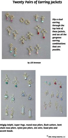 Instructions for making Wire and Beads Earring Jackets using WigJig jewelry making tools and jewelry supplies.