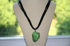 Multi strand necklace with wire wrapped green turquoise by Beauje, $20.00