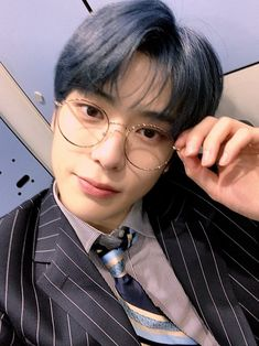 """""""Jaehyun is always beautiful, but wearing specs? he can manage to reach another level of beauty. Jaehyun Nct, Mark Lee, Winwin, Taeyong, Nct 127, K Pop, Johnny Seo, Valentines For Boys, Jung Jaehyun"""