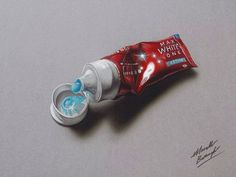 Drawings by Marcello Barenghi. Don't know why you'd ever choose to draw toothpaste but still incredible.