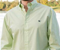Southern Marsh Gadwall Gingham Lime/Navy Shirt