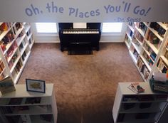 """One of clients created an amazing home library. """"you're never too old, too wacky, too wild, to pick up a book and read to a child."""" DR Suess."""