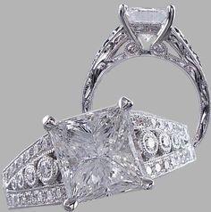 Stunning 3.00 carat Princess Cut Diamond Engagement Ring. Look at all the detail!    On sale now for $10,990 www.bigdiamondsusa.com