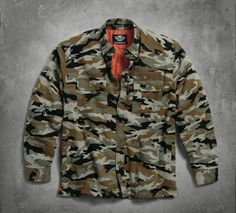From garage to work bench to factory floor, this jacket is durable and functional. | Harley-Davidson Men's Quilted Camouflage Shirt Jacket