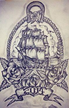 Ship / Rose tattoo sketch by - Ranz