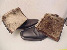 "KATHERINE KASHURA Men's Black Leather 9.5"" Boots Rabbit Fur Lined Size:10.5/43.5"