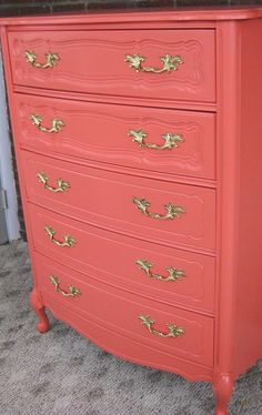 salmon & gold dresser. This will look beautiful in your #Penrose apartment #PenroseRealty