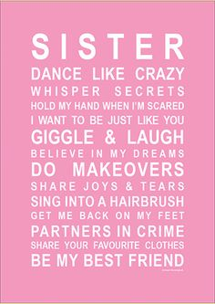 Cherish #sisterhood, send your #sis a happy list of things you do together with this #ecard.